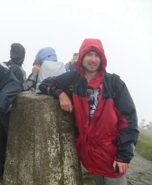 Ben Lomond summit on a rainy day
