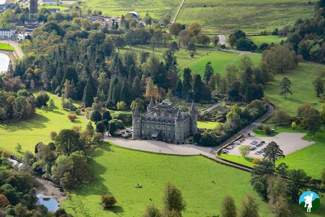 inverary castle from above glasgow to inveraray