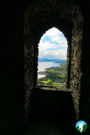 tower window view dun na cuaiche glasgow to inveraray